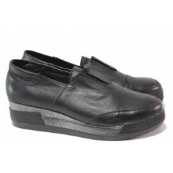 Анатомични обувки, дамски, естествена кожа, ластик, платформа / Ани 312-8218 черен / MES.BG