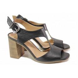 Стилни дамски сандали, естествена кожа, висок ток, анатомични, български / Ани 2694 черен / MES.BG