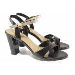 Български дамски сандали, висок ток, естествена кожа, анатомични, елегантни / Ани 2397 черен-злато / MES.BG