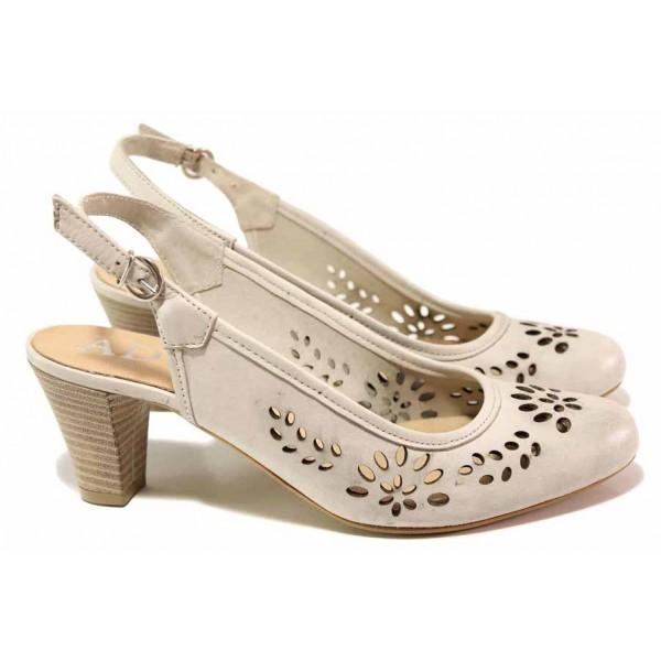 Дамски обувки на висок ток, анатомични, български, естествена кожа с перфорации, отворена пета / Ани 41515 св.бежов / MES.BG