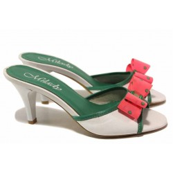 Модерни дамски чехли, български, естествена кожа, анатомични, висок ток, панделка / Ани 1543 бял-зелен / MES.BG
