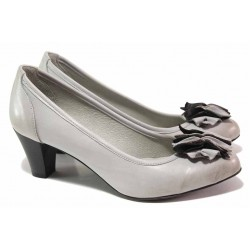 Дамски обувки, среден ток, естествена опушена кожа, анатомични, български, ефектна декорация / Ани 41505 сив / MES.BG