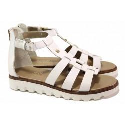 Равни дамски сандали, естествена кожа, анатомични, затворена пета, олекотени / Ани 2084 бял / MES.BG