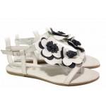 Равни дамски сандали, естествена кожа, анатомични, между пръстите, ефектна декорация - цветя / Ани 1329 бял-син / MES.BG