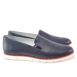Анатомични дамски обувки с ластик, естествена кожа с декоративна перфорация / Ани 2323 син / MES.BG