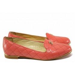 Стилни дамски обувки, естествена кожа, олекотено анатомично ходило / Ани 1761 корал / MES.BG