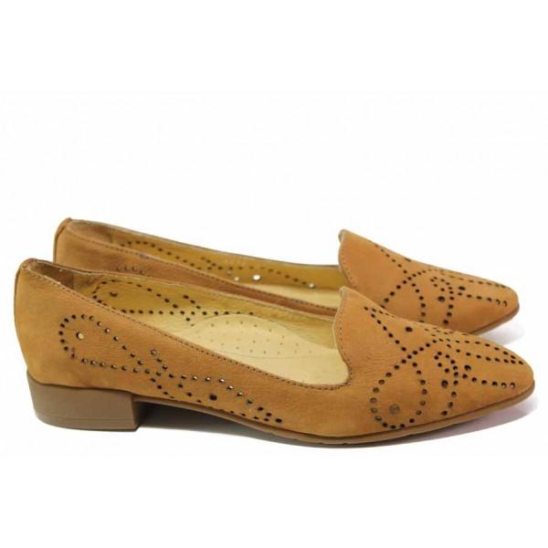 Анатомични дамски обувки, естествен набук, перфорация / Ани 1716 камел / MES.BG