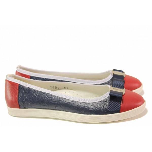 Равни дамски обувки от естествена кожа, анатомично ходило / Ани 1699 син-червен / MES.BG