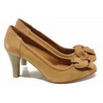 Български дамски обувки с красив акцент-цвете, естествена кожа, висок ток / Ани 41601 кафяв / MES.BG