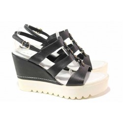 Български дамски сандали, естествена кожа, платформа / Ани 52854 черен / MES.BG