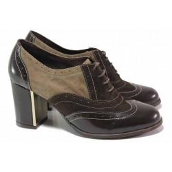 Български дамски обувки на висок ток, естествена кожа-лак с велур, връзки / Ани 1893 кафяв-бежов / MES.BG