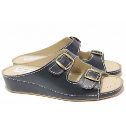 Удобни дамски чехли, корково ходило, противоплъзгащи, регулиране - катарами / КРИС 800 син / MES.BG