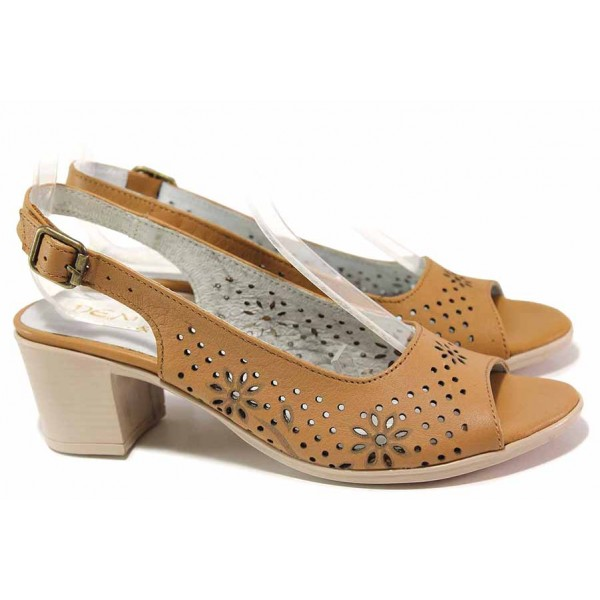 Анатомични дамски сандали, естествена кожа с перфорация, формовано ходило със среден ток / Ани EDA-02 таба / MES.BG