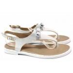 Български дамски сандали с лента между пръстите, естествена кожа, еластично ходило / Ани LIBERIKA-06 сребро-син / MES.BG