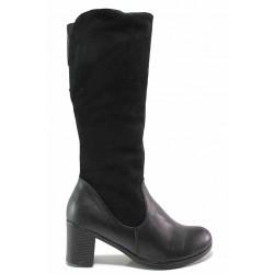 Български дамски ботуши с топъл хастар, естествена кожа в комбинация с велур / Ани 192-18309 черен / MES.BG