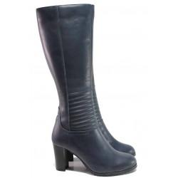 Български дамски ботуши от естествена кожа, висок ток, цип / Ани 33700 син / MES.BG