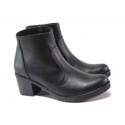 Комфортни кожени боти на среден ток, излято ходило, цип / НЛ 319-1611 черен / MES.BG