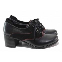 Анатомични дамски обувки със стилна визия, изцяло от естествена кожа, връзки / МИ 529-196 черен / MES.BG