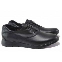 Анатомични дамски обувки, естествена кожа изцяло, български, практични, спортни / НЛ 323-171 черен / MES.BG