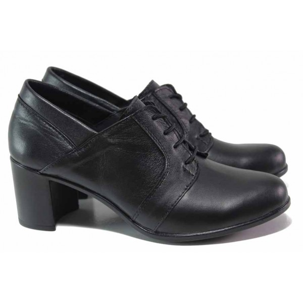 Дамски обувки от естествена кожа, среден ток, анатомични, български, стилни / НЛ 335-527 черен / MES.BG