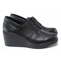 Обувки на платформа, дамски, български, естествена кожа, анататомични, удобна извивка / НЛ 335-528 черен / MES.BG