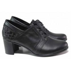 Анатомични дамски обувки, среден ток, български, изцяло от естествена кожа, декорация / НЛ 335-527 черен звезди / MES.BG
