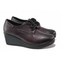 Анатомични дамски обувки на платформа, естествена кожа, връзки / МИ 130 бордо / MES.BG