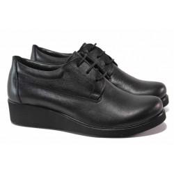 Анатомични дамски обувки на платформа, изцяло от естествена кожа, връзки / МИ 02-9 черен / MES.BG