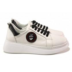 Анатомични спортни обувки с младежка визия, естествена кожа, олекотено и шито ходило/ МИ 001 бял / MES.BG
