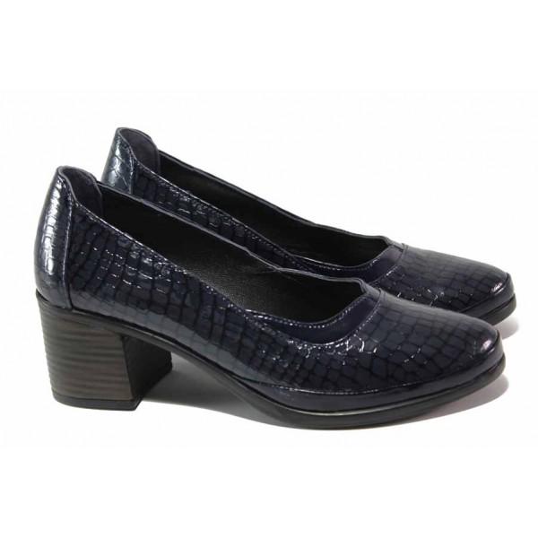 Лачени дамски обувки, анатомични, естествена кожа-лак с ''кроко'' мотив / МИ 440-81 син кроко / MES.BG