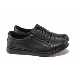 Равни ортопедични обувки с интересен дизайн, естествена кожа, връзки / МИ 061 черен / MES.BG