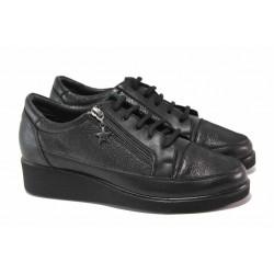Кожени дамски обувки с връзки, анатомична стелка, платформа / МИ 03-11 черен / MES.BG