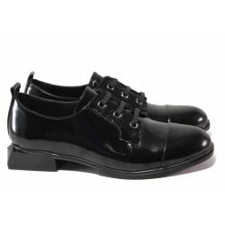 Атрактивни дамски обувки с квадратен ток, естествена кожа-лак, олекотени / МИ 114-47 черен / MES.BG