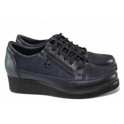 Ортопедични дамски обувки, естествена кожа и сатенирана естествена кожа, удобна платформа, леки / МИ 03-12 син / MES.BG