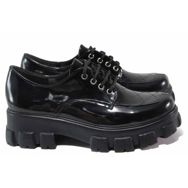 Актуален модел дамски обувки с грайфер, анатомични, висококачествен еко-лак, връзки, леки / ТЯ 3073 черен лак / MES.BG