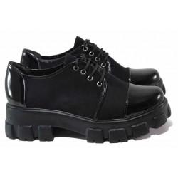 Модерни дамски обувки, еко-велур и еко-лак, олекотени, връзки, грайфер / ТЯ 4380 черен / MES.BG