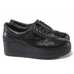 Анатомични дамски обувки на платформа, естествена кожа с интересен принт, олекотено ходило / ТЯ 808-898 черен / MES.BG