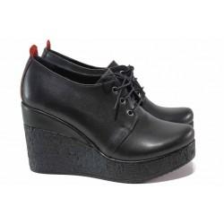 Дамски обувки на платформа, естествена кожа, високи, анатомични / ТЯ 625 черен / MES.BG