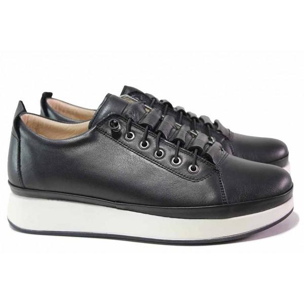 Анатомични дамски обувки, естествена кожа, гъвкави, ластични връзки / ТЯ 7000 черен / MES.BG