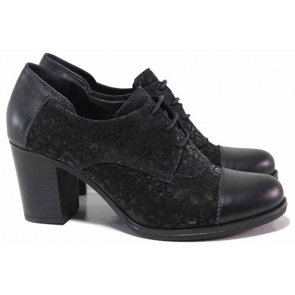 Анатомични дамски обувки с връзки, естествена кожа и велур, стабилен ток / ТЯ 4018 черен / MES.BG