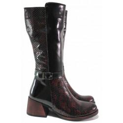 Стилни дамски ботуши, естествена кожа-лак, змийски ефект, топли, удобен ток / МИ 560-17 бордо змия / MES.BG