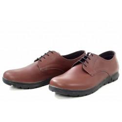 Стилни дамски обувки, естествена кожа, български, равни / МН Gloria кафяв / MES.BG