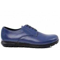 Български обувки, равни, дамски, естествена кожа, класически / МН Sara син / MES.BG