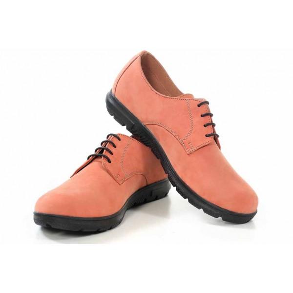 Класически дамски обувки, естествена кожа, равни, български / МН Vanesa розов / MES.BG