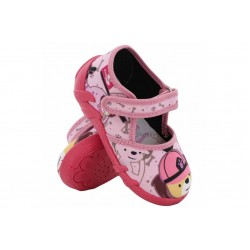 Анатомични детски пантофи, текстилни, гъвкави, с вадеща стелка / МА 13-105-02 розов-мече 20/27 / MES.BG