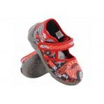 Анатомични текстилни пантофи, детски, лепенка, пластично ходило / МА 13-105-09 червен-коли 20/27 / MES.BG