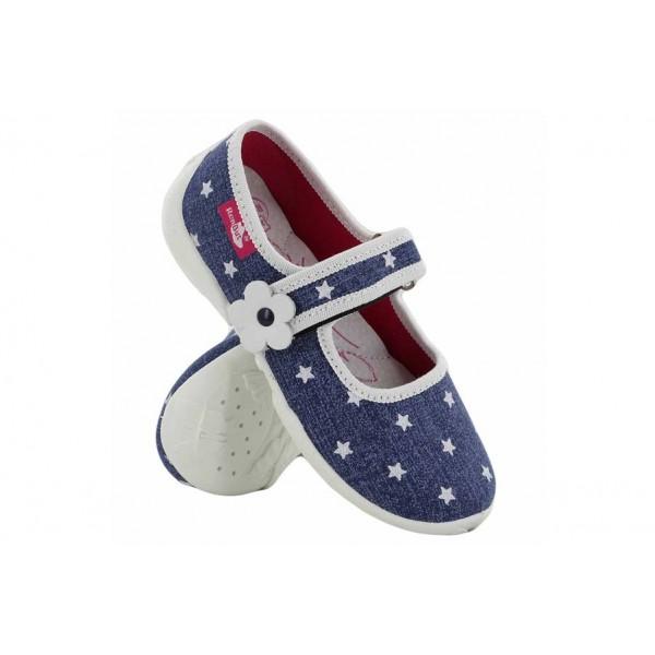 Анатомични текстилни обувки, детски, олекотени, гъвкави / МА 33-415-02 син-бял звезди 26/32 / MES.BG