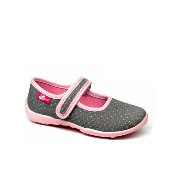 Анатомични дишащи обувки, детски, леки, кожена стелка, пластични / МА 33-415-52 сив-розов точки 26/32 / MES.BG