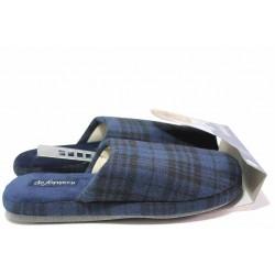 Гъвкави домашни чехли, мъжки, анатомични, леки, текстилни / Defonseca ROMA TOP I M624 син каре / MES.BG