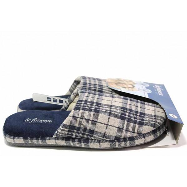 Мъжки домашни чехли, анатомични, гъвкави, олекотени, текстилни / Defonseca ROMA TOP I M624 бежов-син каре / MES.BG